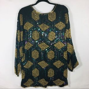 Vintage All Over Sequin Tunic Top